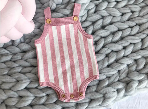 Pink Striped Knit Romper