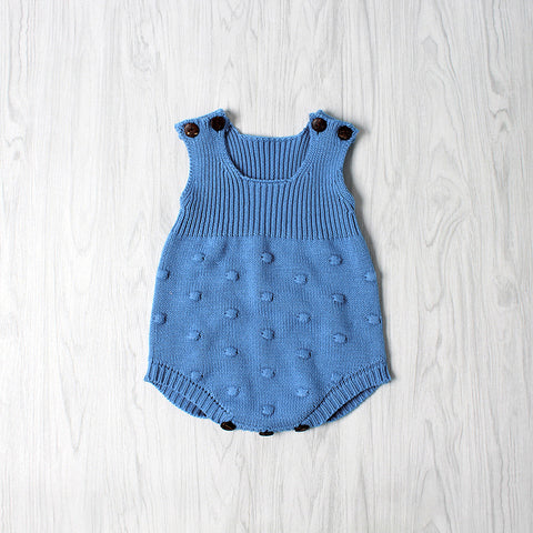 Cobalt Knit Dot Romper