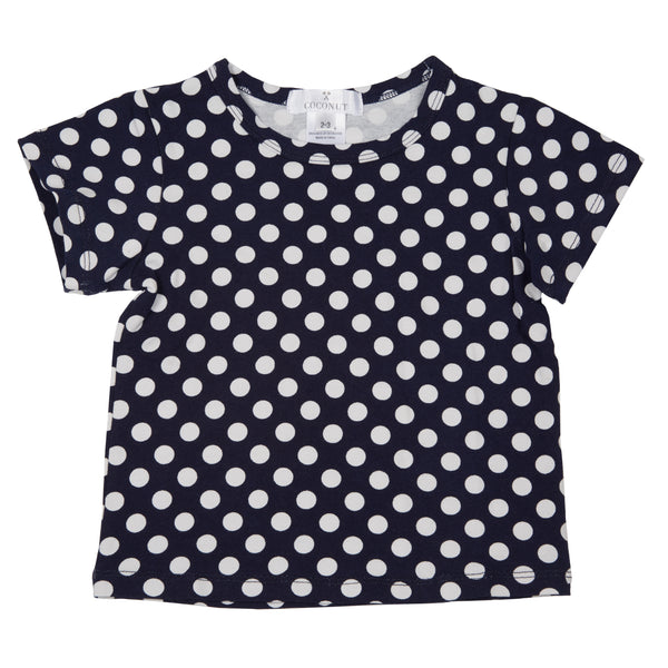 Coconut Navy Dot Tee - cutelittlemonster.com