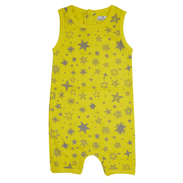 Coconut Yellow Star Romper - cutelittlemonster.com