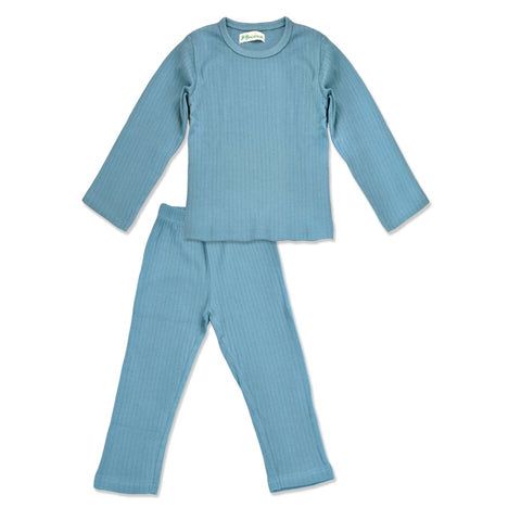 J' suis Ribbed Dusty Blue Pajama