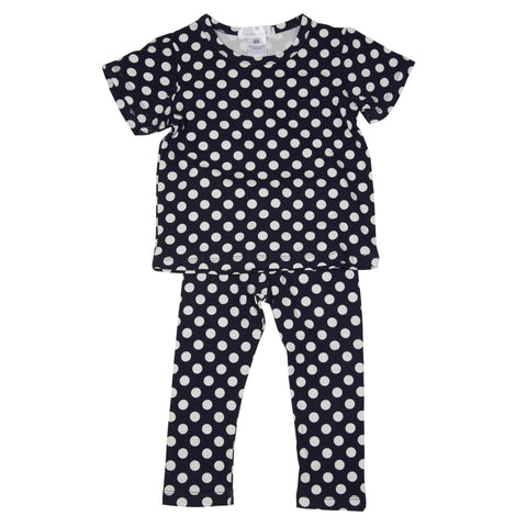 Coconut Navy Dot Legging Set