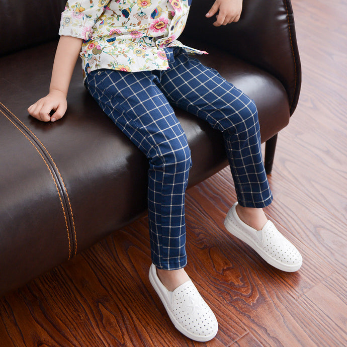 Blue Plaid Skinny Pants - cutelittlemonster.com