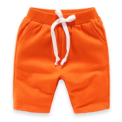 Orange Slim Leg Cotton Shorts