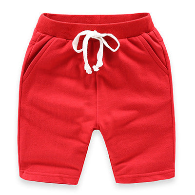 Red Slim Leg Cotton Shorts
