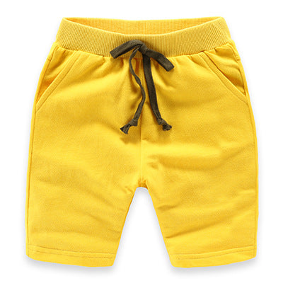 Yellow Slim Leg Cotton Shorts