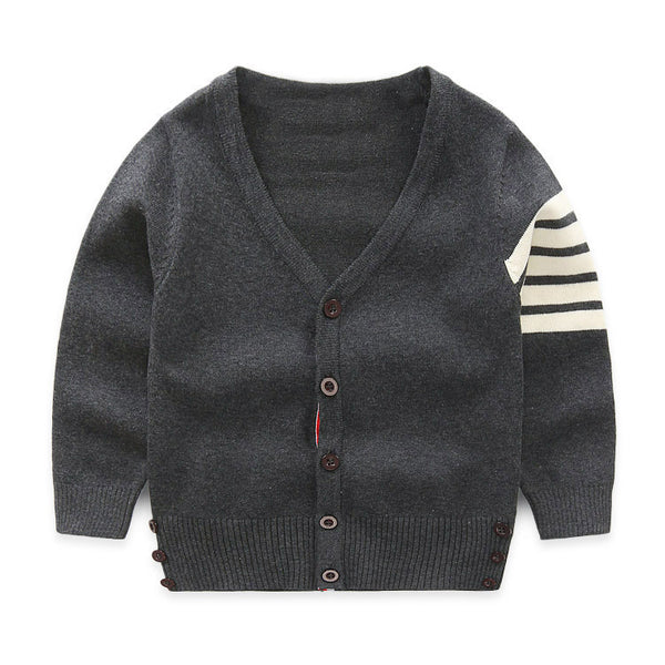Dark Grey Stripe Cardigan - cutelittlemonster.com
