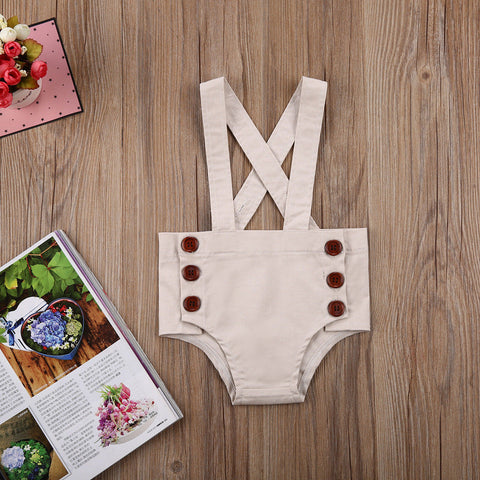 Tan Button Romper