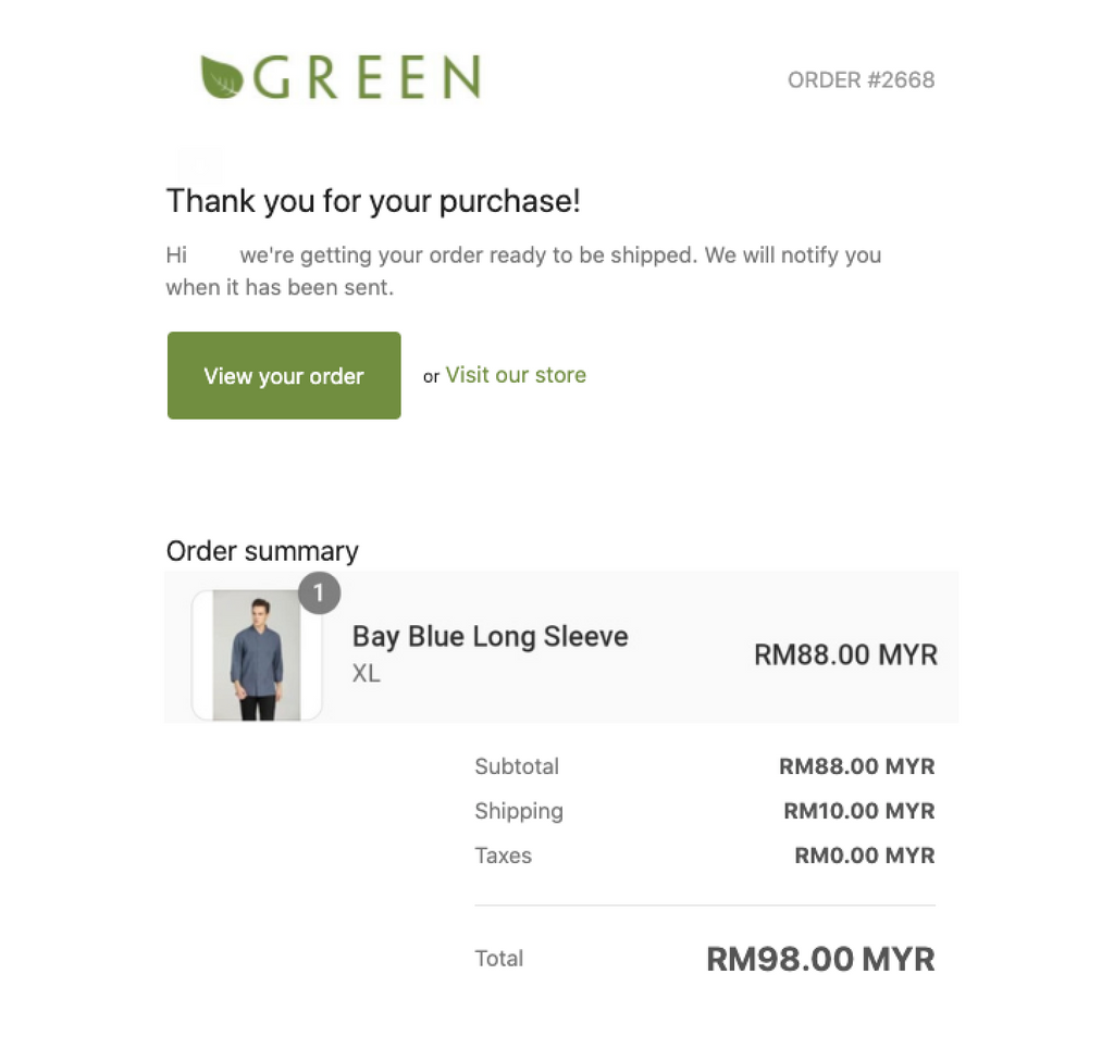 GreenChef Confirmation Email Example