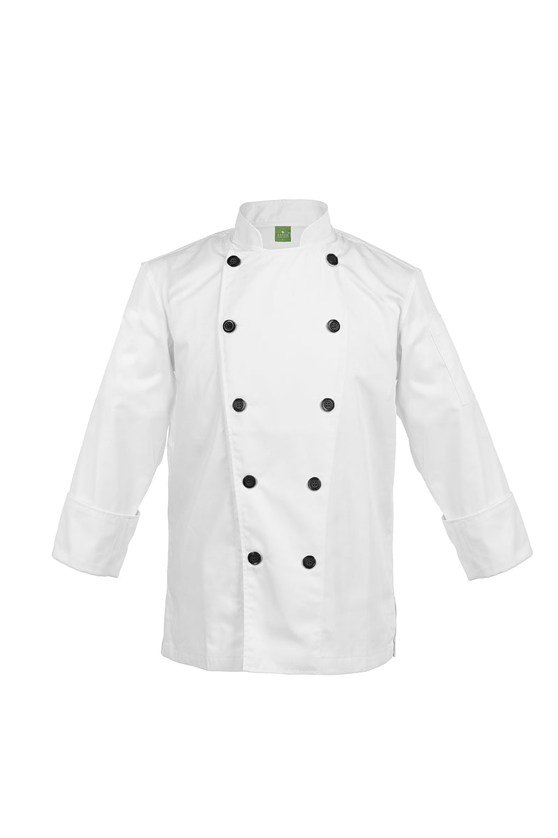 Classic Black Buttons, Long Sleeve - Green Chef Wear
