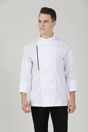 Basil White Long Sleeve - Green Chef Wear