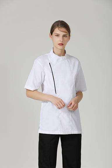 Basil White Short Sleeve - Green Chef Wear