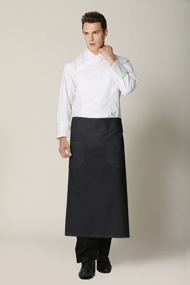 Flap Angled Chef Apron, Black - Green Chef Wear