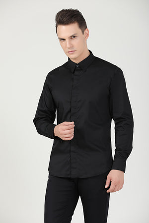 Black Service Shirt L|S, Unisex - Green Chef Wear