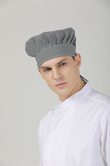 Poppy Checkered Chef Toque - Green Chef Wear