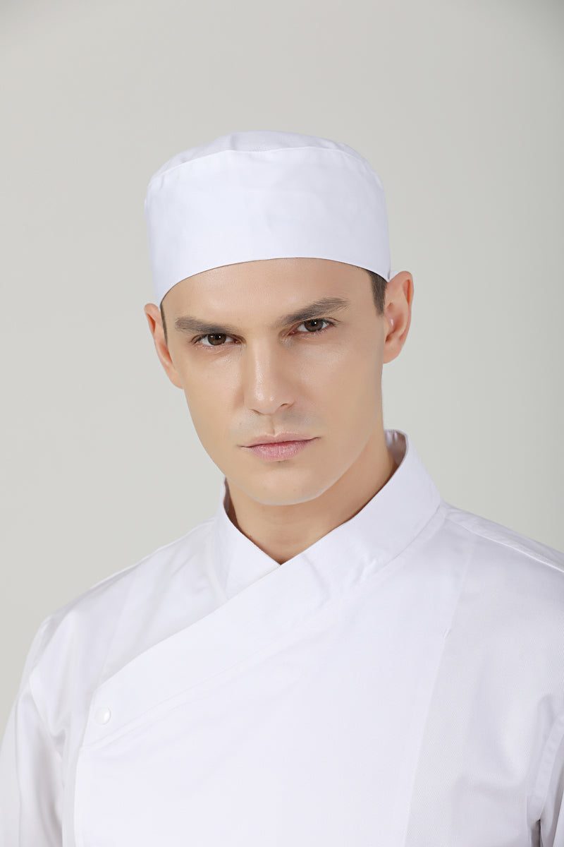 Gladiolus White Chef Beanie, Vent - Green Chef Wear