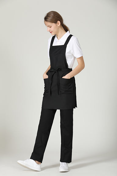 Gretel Black Service Bib Apron - Green Chef Wear