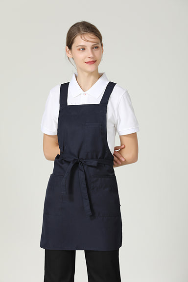 Gretel Navy Blue Service Bib Apron - Green Chef Wear