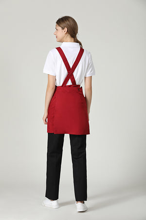 Gretel Maroon Red Service Bib Apron - Green Chef Wear