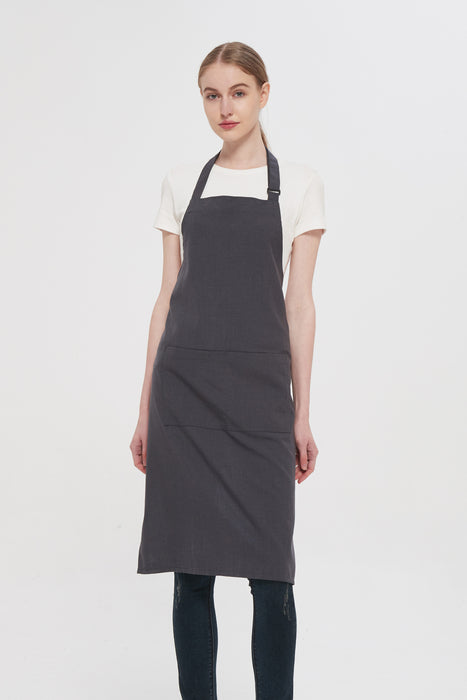 Grey Bib Apron, Front View