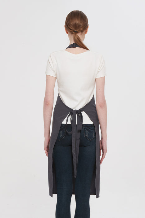 Grey Bib Apron, Back View