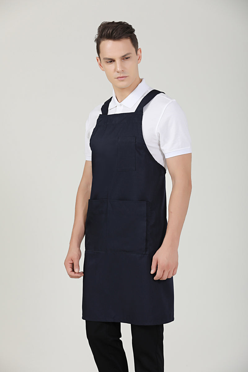 Hansel Navy Blue Service Bib Apron - Green Chef Wear