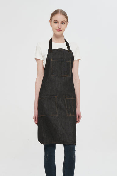 Martis Black Denim Bib Apron, Front View