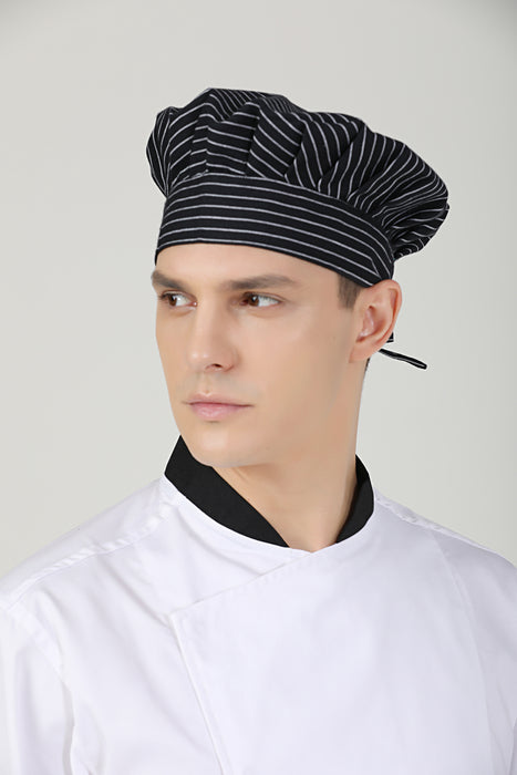 Poppy Small Stripes Chef Toque - Green Chef Wear