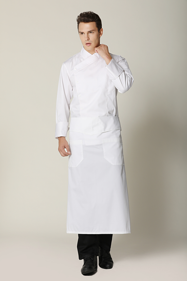 Flap Angled Chef Apron, White - Green Chef Wear