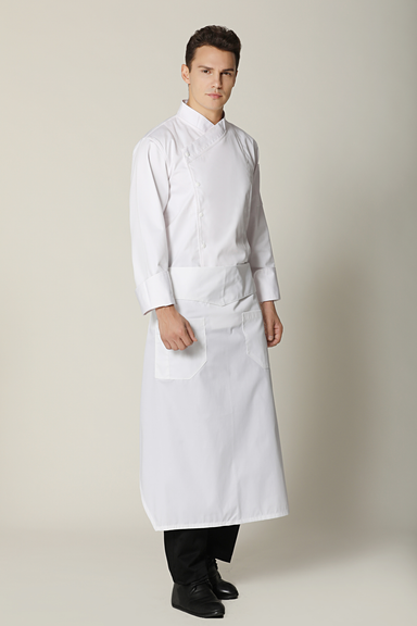 Flap Angled Chef Apron, White