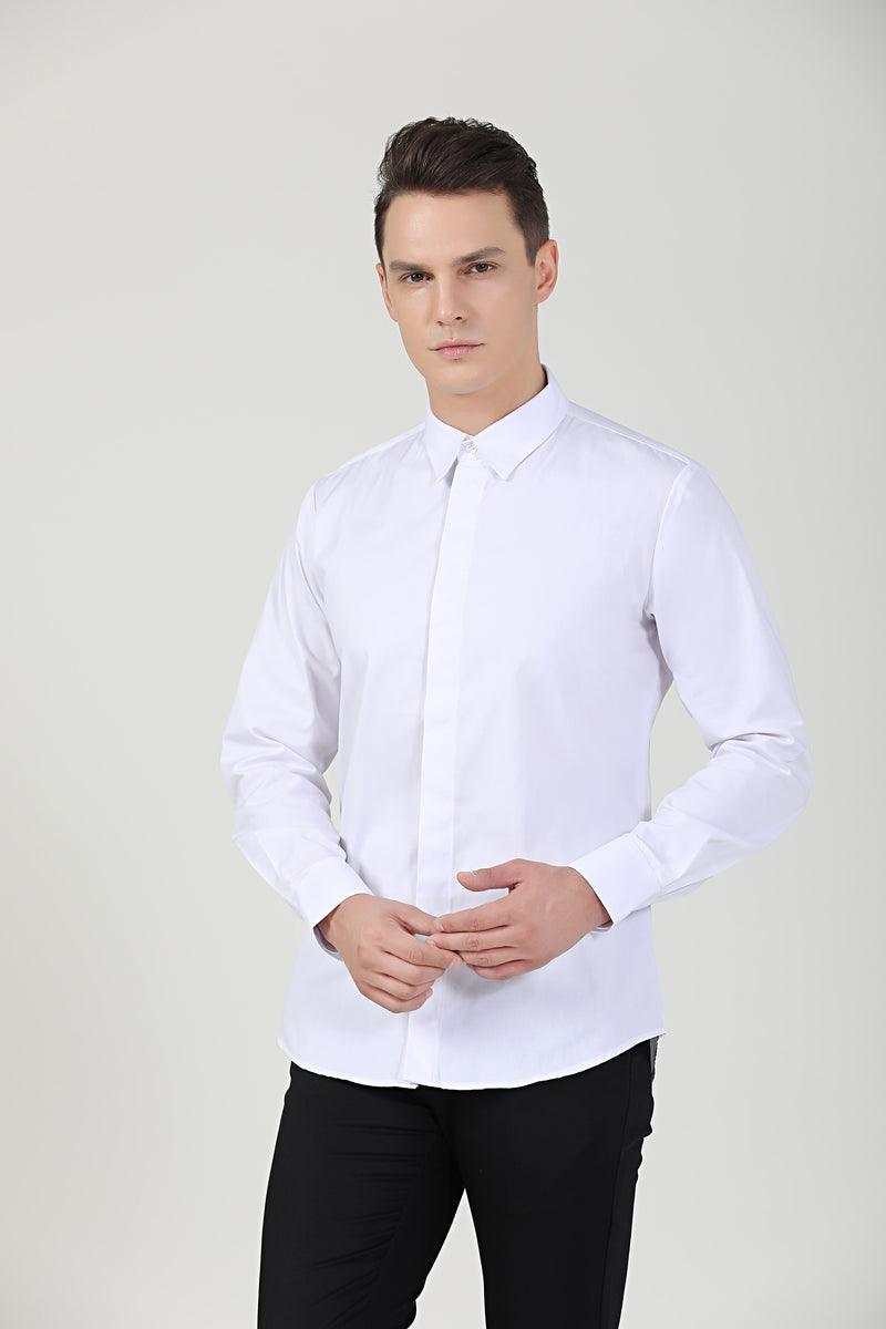 White Service Shirt L|S, Unisex - Green Chef Wear