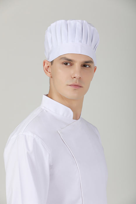White Toque (M) with Vent - Green Chef Wear