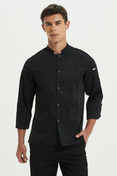 Mint Black Chef Jacket with Drifit, Long Sleeve, Front View