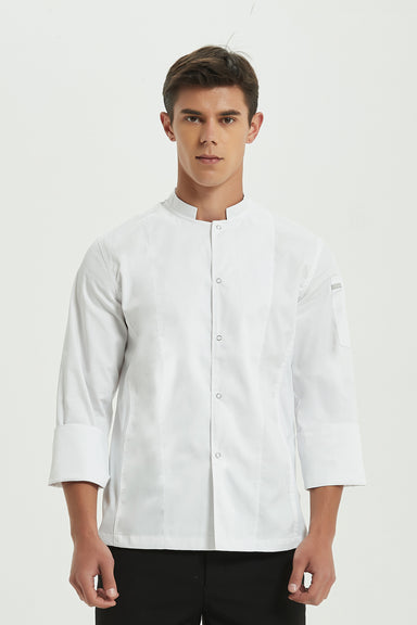 Mint White Chef Jacket with Dri-fit, Front View