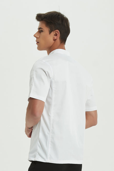 Mint Chef Jacket Short Sleeve with Dri-fit, Back View