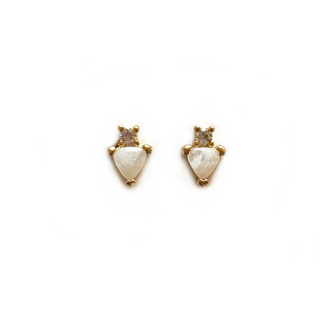 Tiny Gemstone Heart Studs