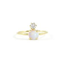 Double Dose Gold Ring - Opal and Diamond