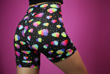 Cotton Bike Shorts - High Waist - Rainbow Clouds