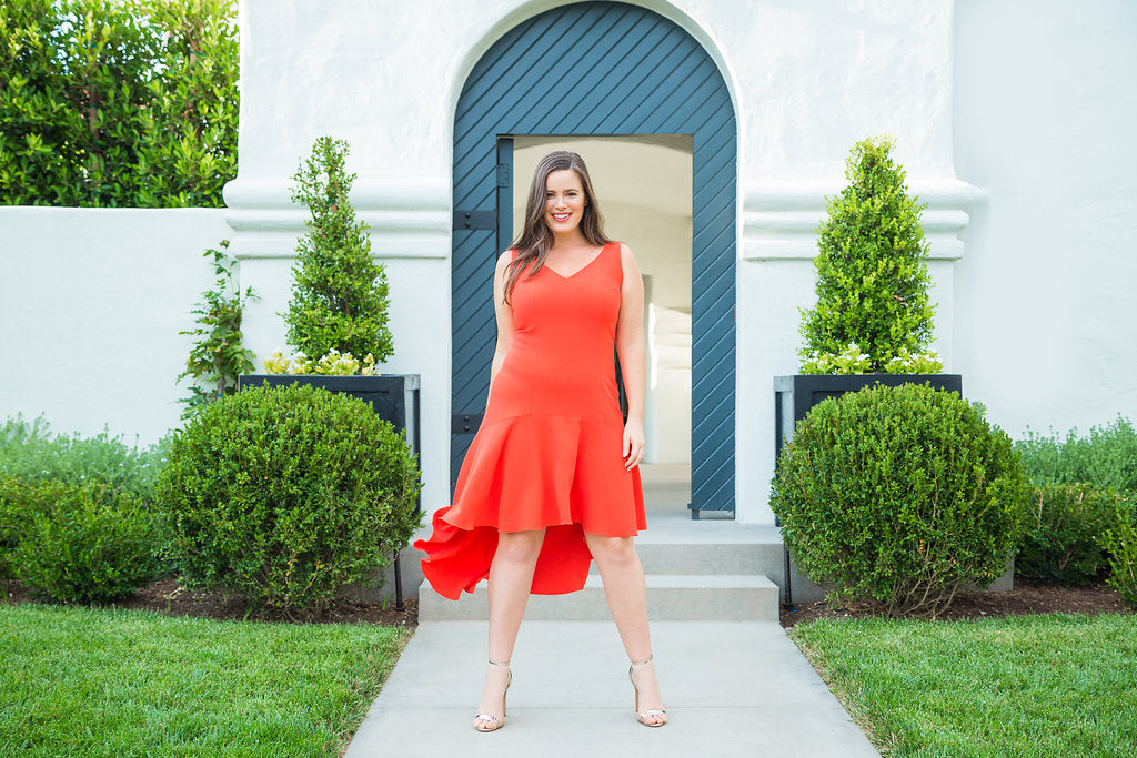 Spain Coral Ruffle Dress by Marina Bulatkina - Plus size designer fashion