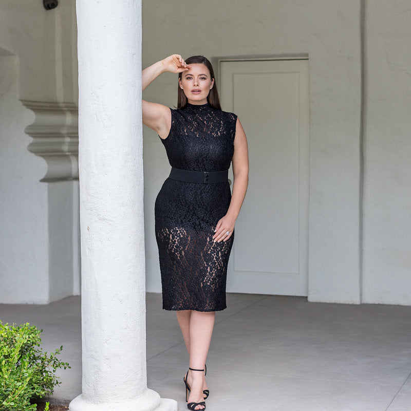 Marina Bulatkina Good Night Plus Size Black Lace Dress