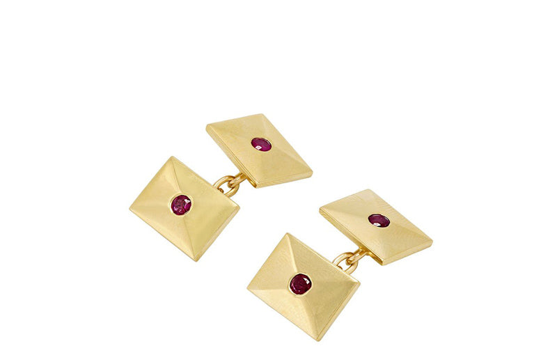 Plus Size Designer Fashion Holiday Gift Guide Cartier Ruby Cufflinks in 14K Gold