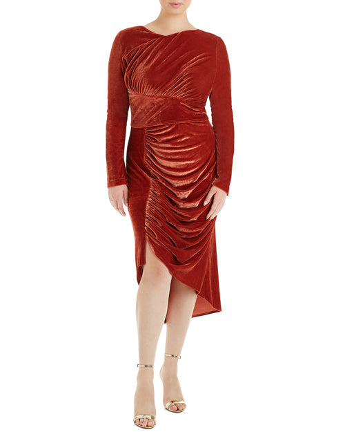 Christian Siriano Ruched Velvet Dress