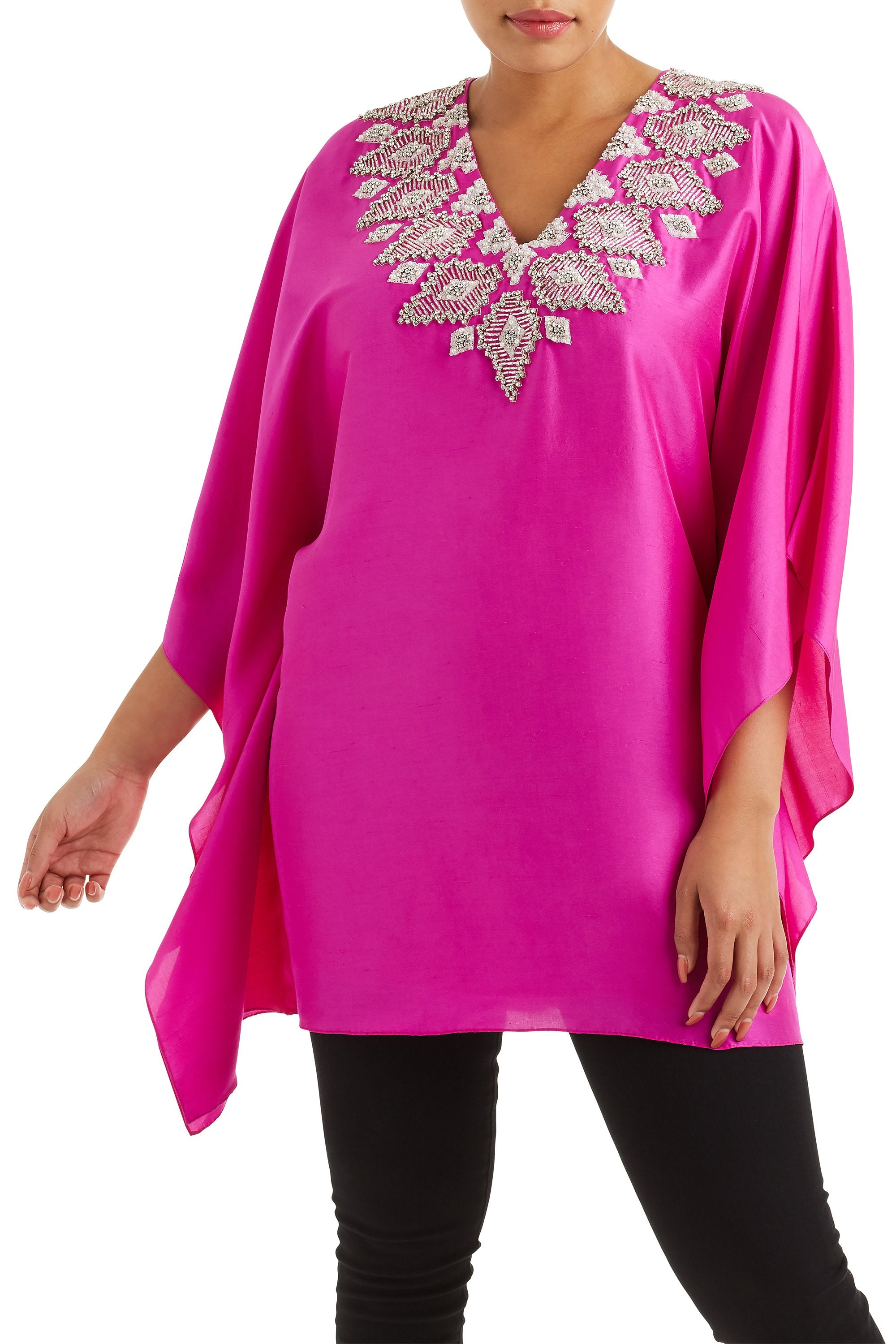 Badgley Mischka Hot Pink Geometric Caftan