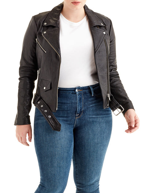 Veda Black Leather Biker Jacket
