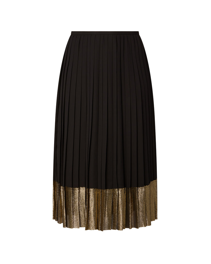 Pleated Skirt with Lamé Stripe