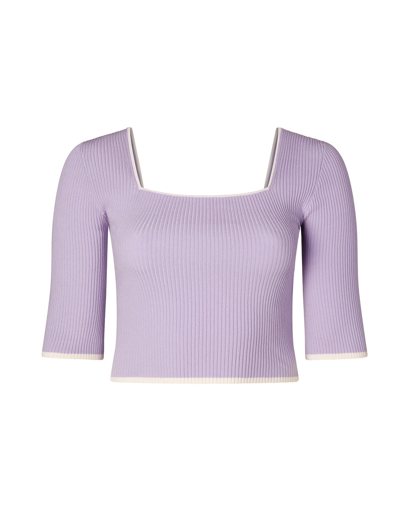 Square Neckline Ribbed 3/4 Sleeve Top