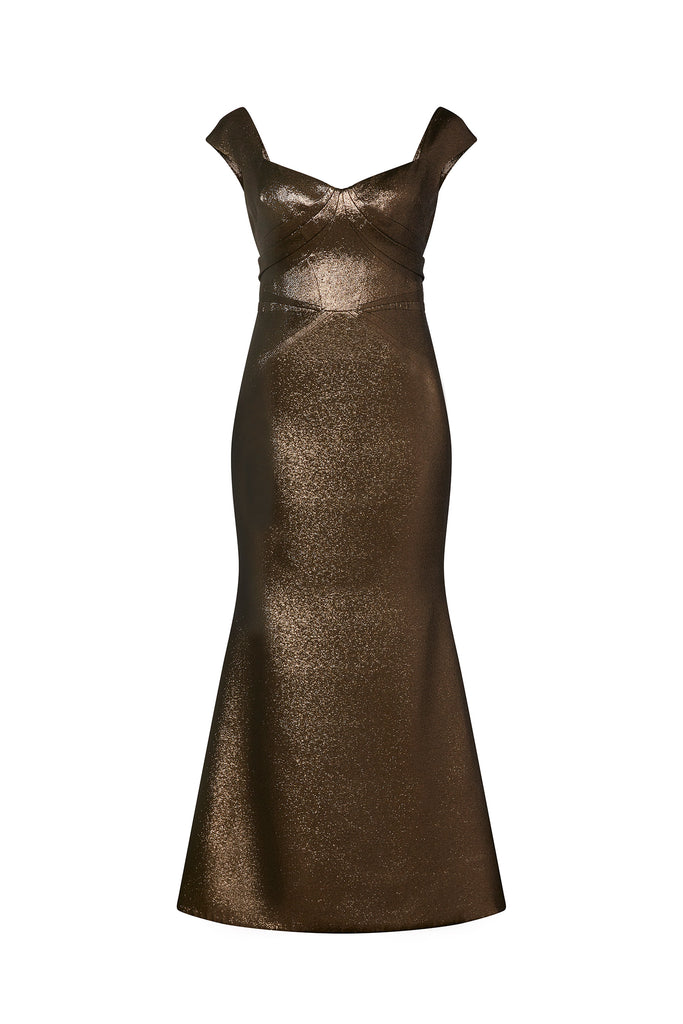 Lurex Party Jacquard Gown