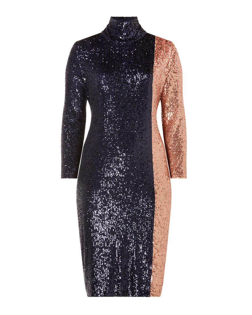 Two Tone Sequin Midi Dress