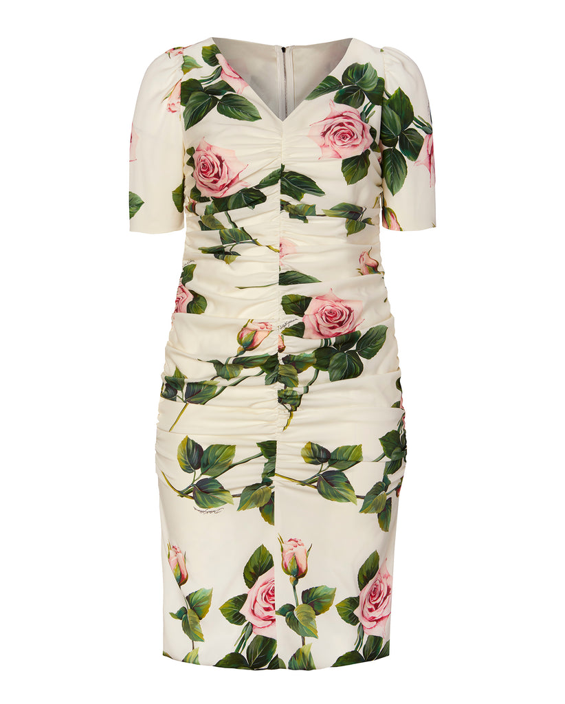 V-Neck Floral Dress with Ruching