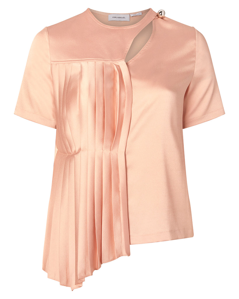 Pleated Hammered Satin Top